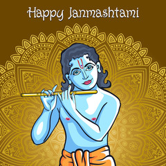 Hindu young god Lord Krishna. Happy janmashtami vector