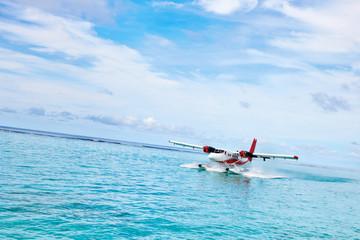 hydroplane near the maldivian island