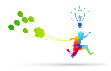 bambino, saltare, lampadina, idea, creatività, idea