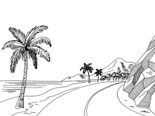 Sea coast road graphic art black white landscape sketch illustration vector