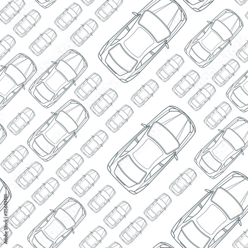 vector seamless monochrome pattern with outline cars top view