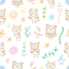 Seamless pattern with cute cartoon owls and flowers on  white background. Summer plants and grass. Little funny birds. Children's illustration.