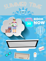 Summer time blue infographic, with book now text, computer and travel accessories, Digital vector image