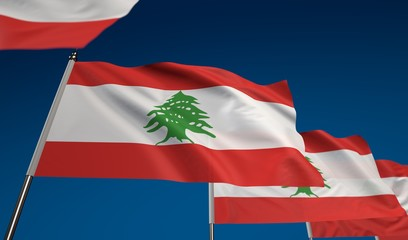 Lebanon flag on clear blue sky, photo realistic waving flag made by 3D graphics with depth of field blur, ultra high 42MP resolution