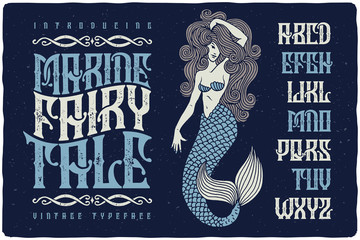 Marine fairytale font with beautiful mermaid illustration. Vintage decorative type set.