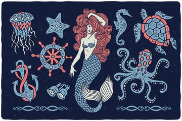 Marine illustrations set. Mermaid drawing. Octopus. Ocean turtle. Ship wheel. Binocular. Sea horse. Jellyfish. Anchor.