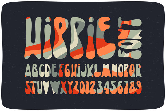 Smooth hippie font with wavy psychedelic seamless pattern. Vintage rounded alphabet.