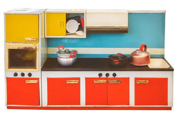 Vintage toy kitchen isolated on white