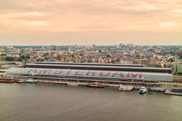 Aerial view of Amsterdam with the central station in front