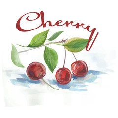 watercolor cherry fruit label with the inscription