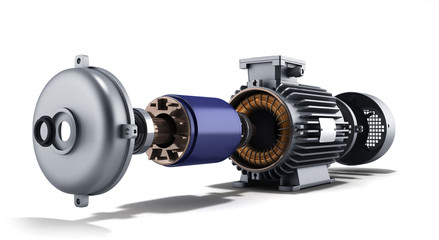 electric motor in disassembled state 3d illustration on a white Wall mural