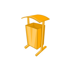 Dustbin for public spaces icon in cartoon style isolated on white background. Garbage symbol