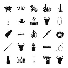 Set of hookah icons. Waterpipes, tobacco, charcoal and accessories simple icon set on background