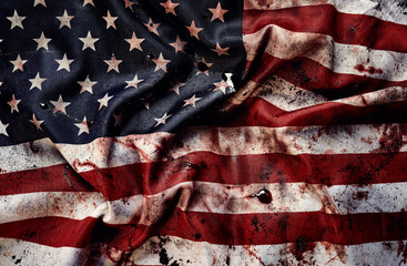 Grunge american flag background with blots of blood
