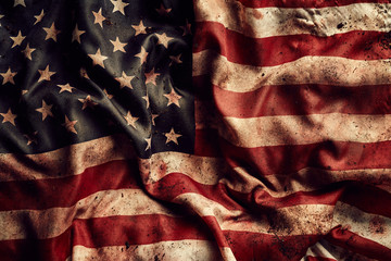 Grunge american flag texture with dirt and blood