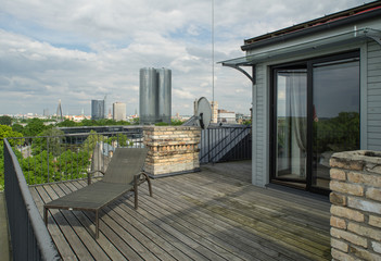 Veranda on the roof. Modern private flat.