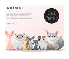 Cute animal family background with Cats, vector , illustration