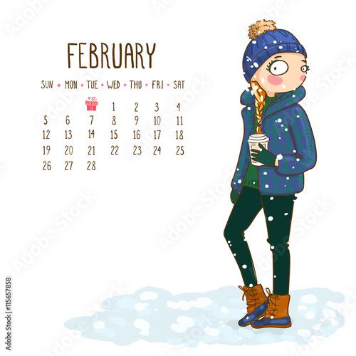 June Calendar Girl Series : Quot calendar february month season girls design