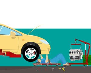 Inside the garage, the mechanic lying under the car doing repairs. Car repair. Vector illustration