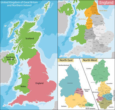 Map of North East and West England