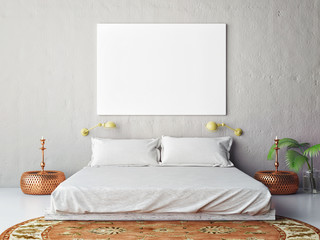 Mock up blank poster on the wall of bedroom, 3D illustration