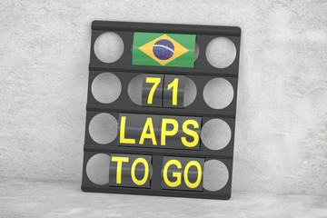 Interlagos racing, pit board with flag of Brazil, 3D rendering