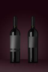 mockup bottiglia vino rosso