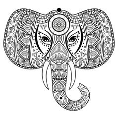 Decorated mandala elephant head for coloring book, testa elefante decorata mandala da colorare