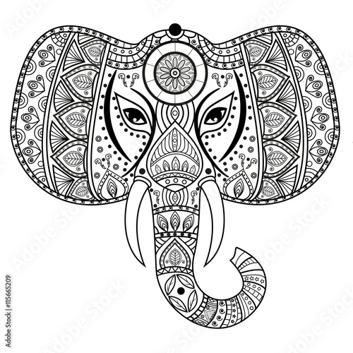 Decorated Mandala Elephant Head For Coloring Book Testa Elefante