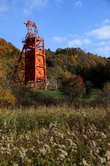 紅葉と三菱美唄炭坑跡