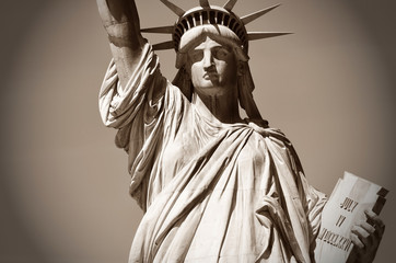 the Statue of Liberty in sepia