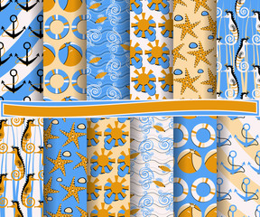 set of abstract paper with decorative shapes and design elements for scrapbook. Marine symbols