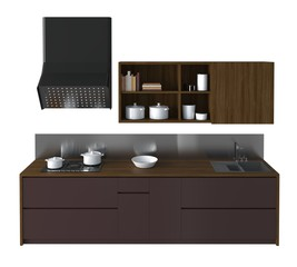 Kitchen Furniture Isolated On White 3D Illustration
