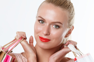 Amazed beautiful smiling blonde woman