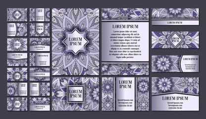 Big templates set. Business cards, invitations and banners. Floral mandala pattern  ornaments. Oriental design Layout.