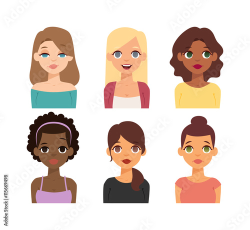 "Crowd Of Indian Women Vector Avatars Stock Vector: ""Group Girls Face Nationality Race Avatars. Flat Design"