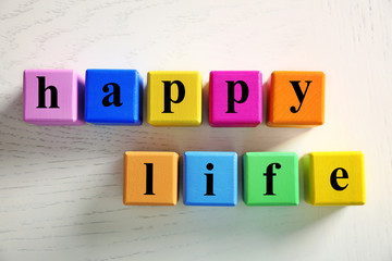 Color words HAPPY LIFE on light background