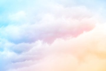 Self adhesive Wall Murals Heaven Rainbow Clouds. A soft cloud background with a pastel colored orange to blue gradient.