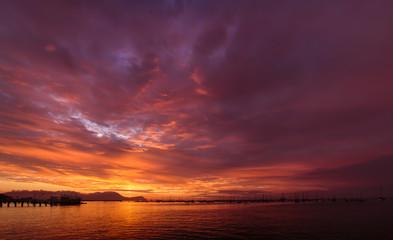 Sunset in La Punta Town, in Callao, Peru.