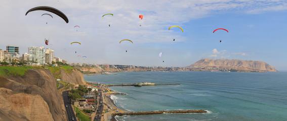 Paraglide in Miraflores, Lima, Peru.
