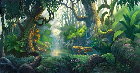 Fototapeta fantasy forest background illustration painting obraz