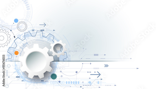 vector futuristic technology background, 3d white paper gear wheel, Presentation templates