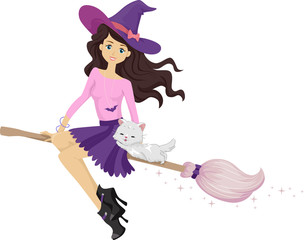 Teen Girl Witch Cat