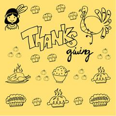 Thanksgiving element doodle vector