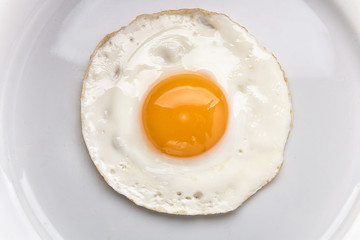 Photo on textile frame Egg Fried egg on a white plate