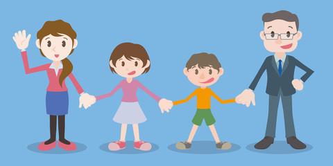 family join hands, vector illustration