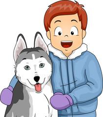 Kid Boy Pet Siberian Husky