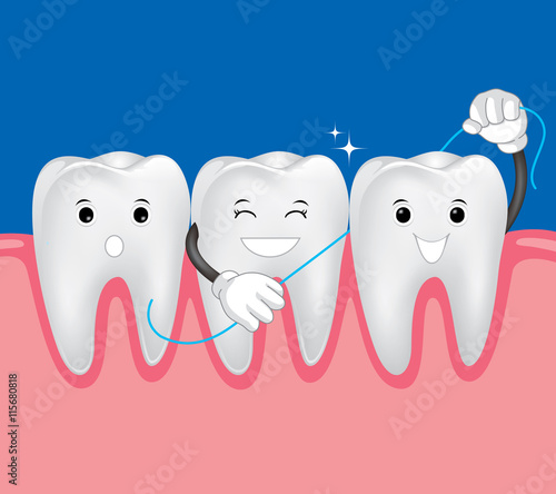 quotteeth with dental floss for healthcare dental care