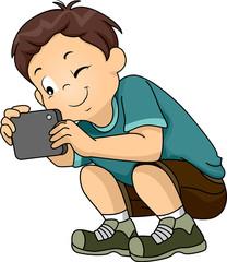 Kid Boy Sit Taking Picture Phone