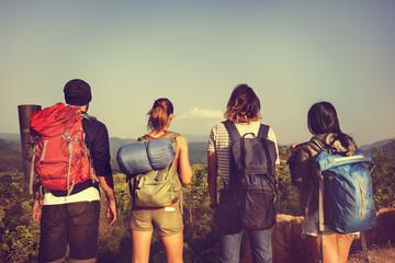 Backpacker Camping Hiking Journey Travel Trek Concept Wall mural